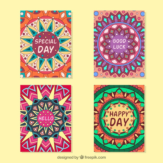 Beautiful mandala greeting card collection vector free download beautiful mandala greeting card collection free vector m4hsunfo
