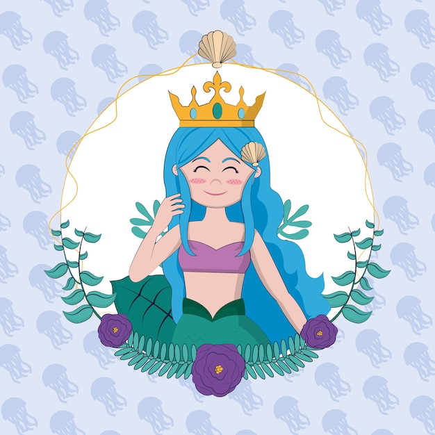 Beautiful mermaid with crown and seaweed round frame vector ...