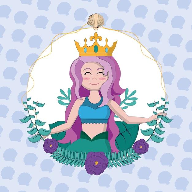 Красивая русалка с короной и водорослями круглая рамка векторная графика графический дизайн Premium векторы