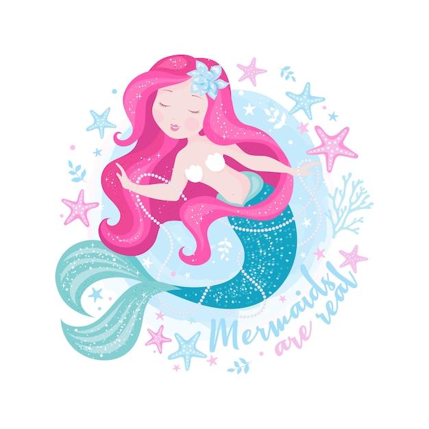 Beautiful mermaid with pearls. Premium Vector