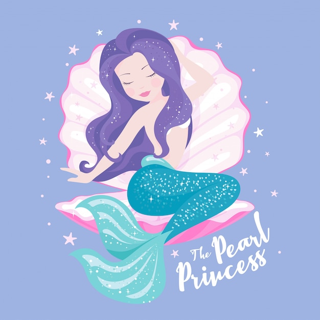 Beautiful mermaid with shell on lilac Premium Vector