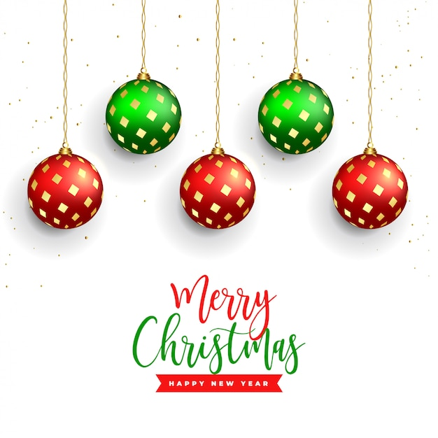 Beautiful merry christmas background with realistic balls decoration Free Vector