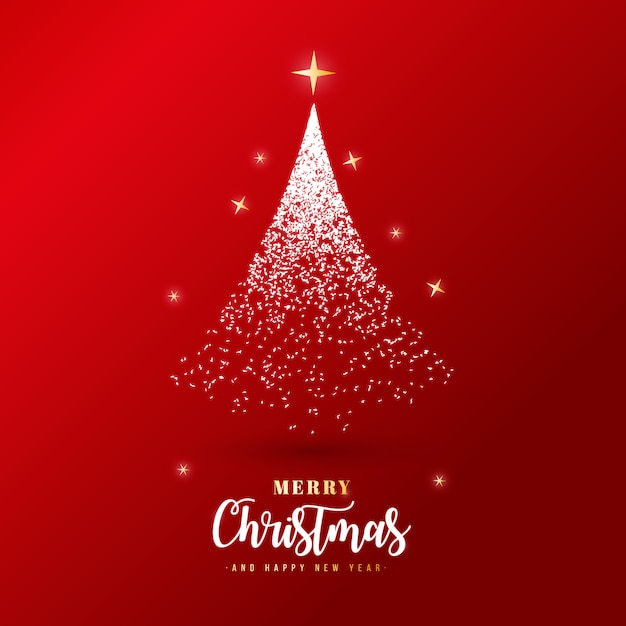 Beautiful merry christmas banner with silver particles Free Vector