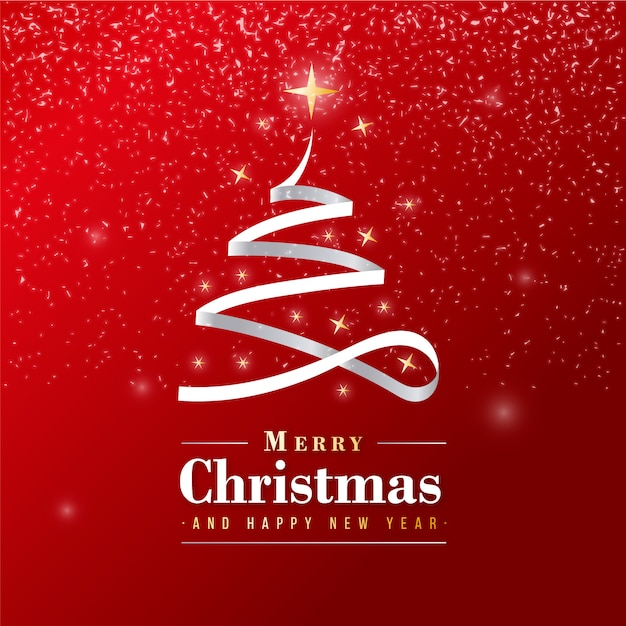 beautiful merry christmas banner with silver ribbon vector free download. Black Bedroom Furniture Sets. Home Design Ideas