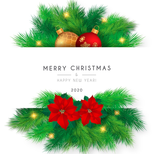 Beautiful merry christmas card template Free Vector