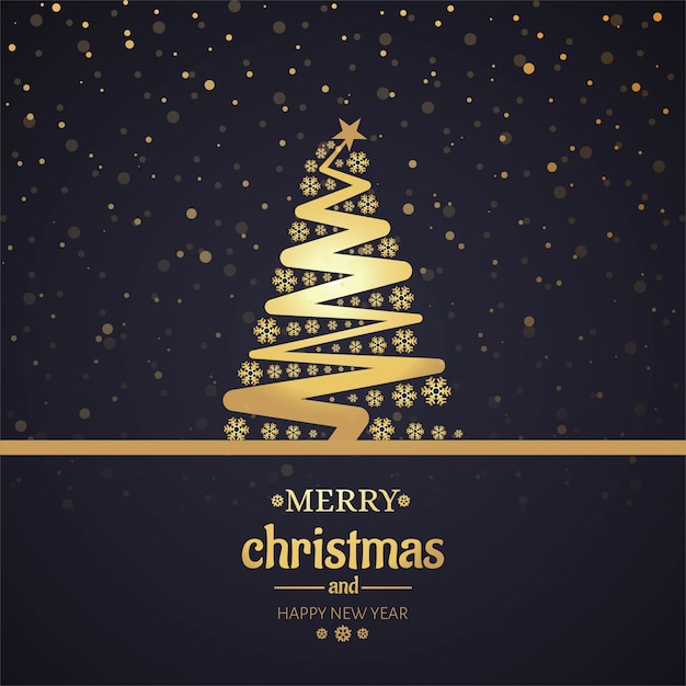 Beautiful merry christmas card with tree background Vector | Free ...