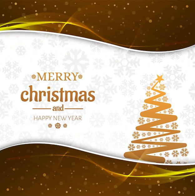 Beautiful merry christmas card with tree background Free Vector