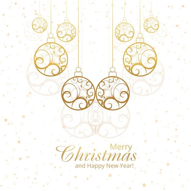 Beautiful merry christmas decorative balls design Free Vector