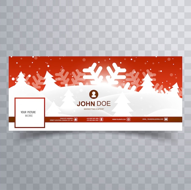Beautiful merry christmas facebook cover template design Premium Vector