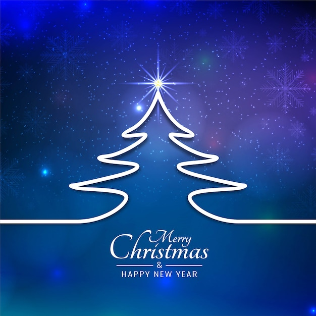 Beautiful merry christmas festival blue background Premium Vector