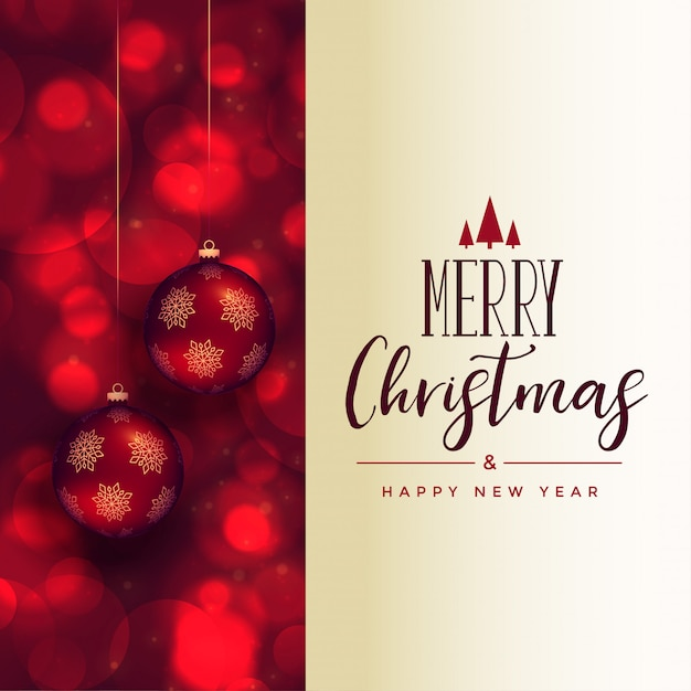 Beautiful merry christmas festival card with xmas balls Free Vector