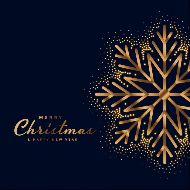 Beautiful merry christmas festival golden card Free Vector