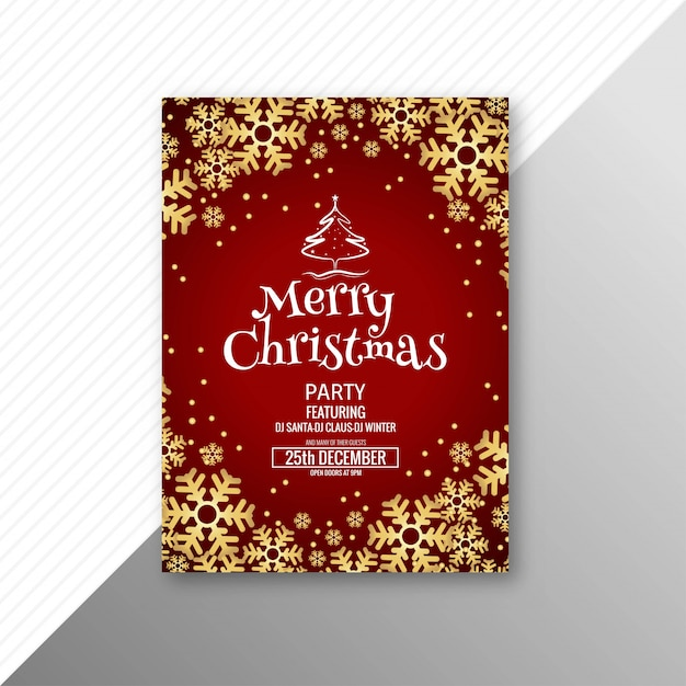 Beautiful merry christmas greeting card template Free Vector