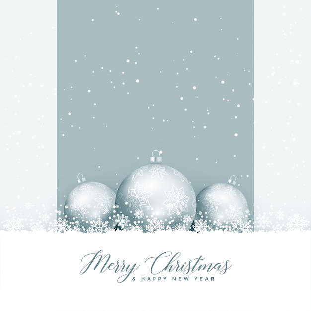 Beautiful merry christmas greeting with balls and snowflakes Vector ...