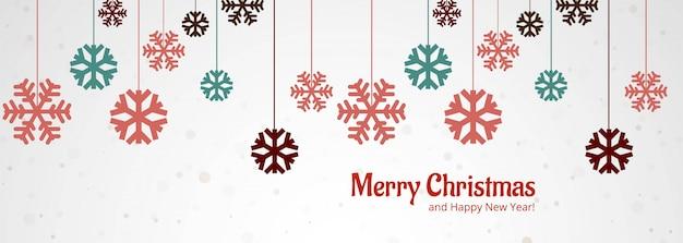 Beautiful merry christmas snowflake banner design vector Free Vector