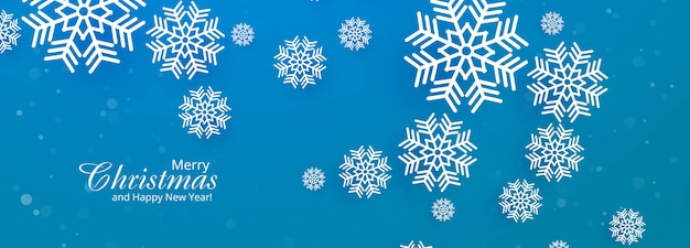 Beautiful merry christmas snowflake blue banner Free Vector