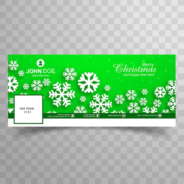 beautiful merry christmas snowflake with facebook banner template green background free vector