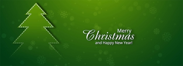Beautiful merry christmas tree banner for green Free Vector