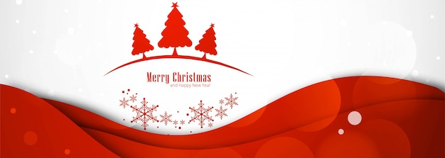 Beautiful merry christmas tree banner for red Free Vector