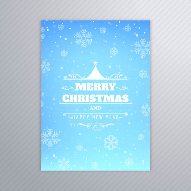 Beautiful merry christmas tree card brochure design vector Free Vector