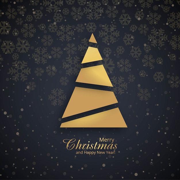 Beautiful merry christmas tree festival background vector Free Vector