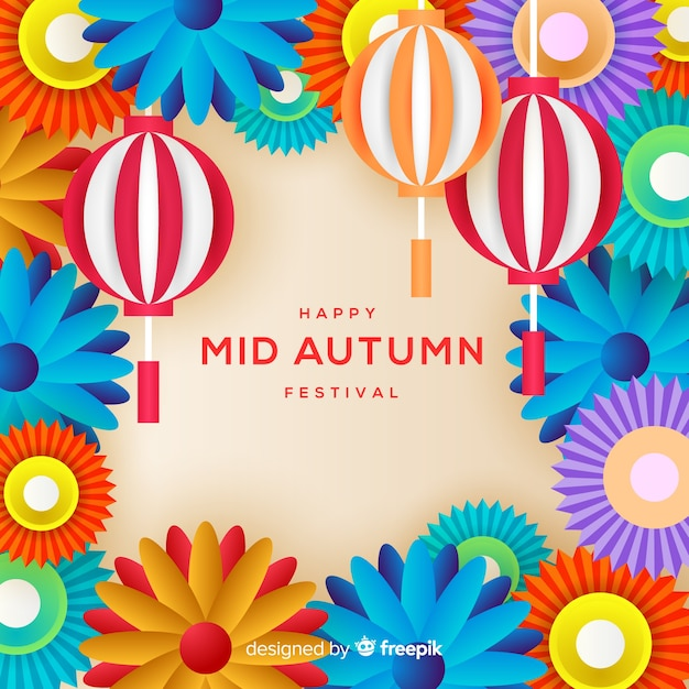 Beautiful mid autumn festival background concept Free Vector