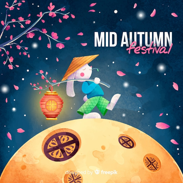 Beautiful mid autumn festival background Free Vector