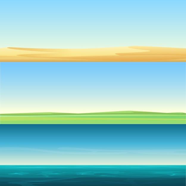 砂の砂漠、牧草地の田園地帯、海の海の背景セットの美しいミニマルな水平バナーの風景 Premiumベクター
