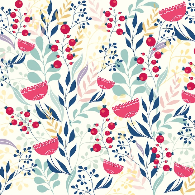 Beautiful modern floral pattern Vector | Free Download