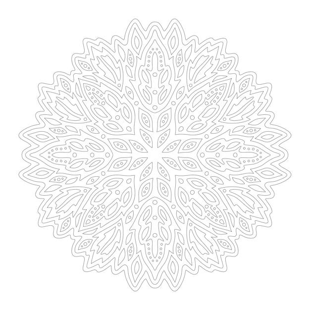 白い背景で隔離の抽象的な丸い線形パターンで本のページを着色するための美しいモノクロイラスト Premiumベクター