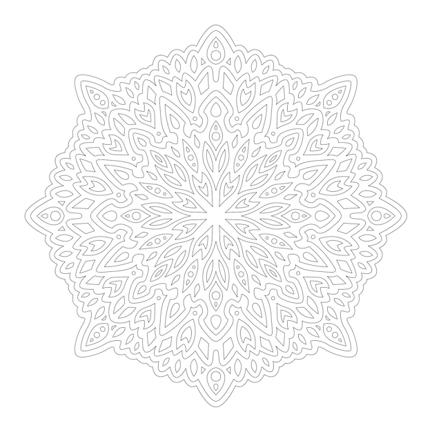 白い背景で隔離の線形抽象的なパターンで本のページを着色するための美しいモノクロ曼荼羅 Premiumベクター
