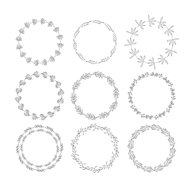 Beautiful monogram set with floral elements. collection of hand drawn wreaths, and frames with flowers and leaves for invitation cards decoration.   illustration Premium Vector