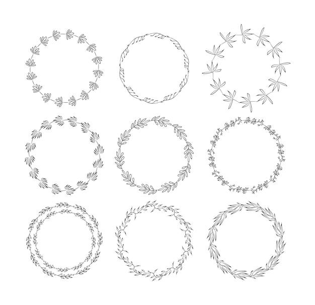 꽃 요소와 설정 아름다운 모노그램. 손으로 그린 화 환 및 꽃과 잎 초대 카드 장식 프레임의 컬렉션입니다. 삽화 프리미엄 벡터