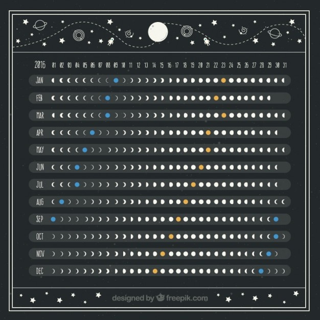 beautiful moon calendar free vector