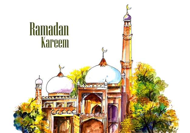 Beautiful mosque panting ramadan kareem background Free Vector