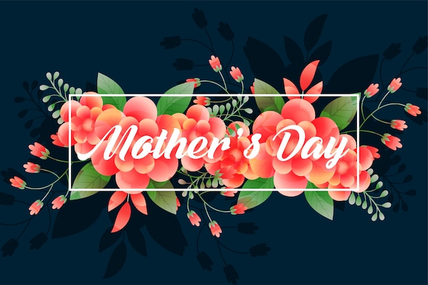 Beautiful mother's day foliage greeting Free Vector