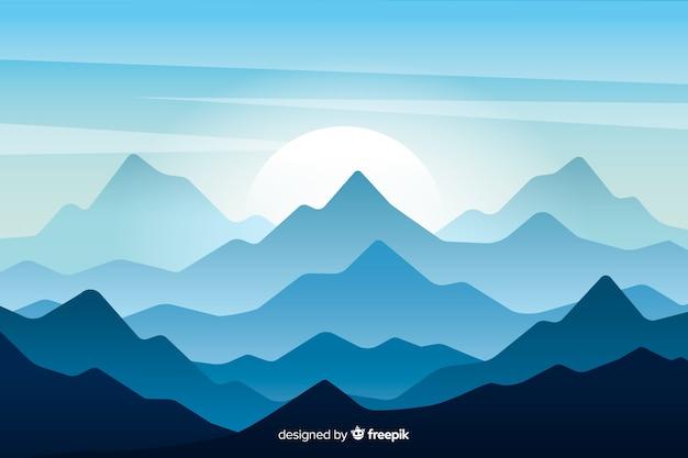 Красивая горная цепь пейзаж с луной Бесплатные векторы