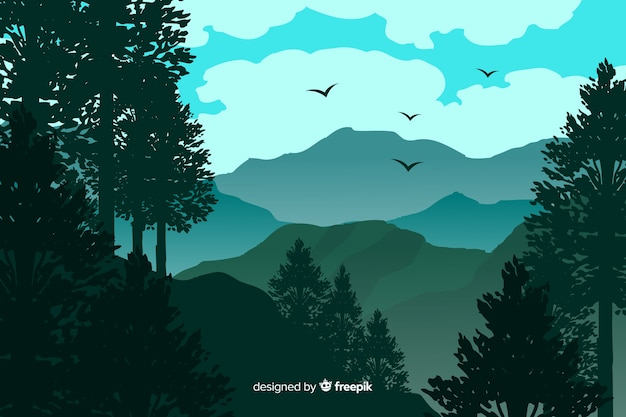 Beautiful mountains landscape with birds Free Vector