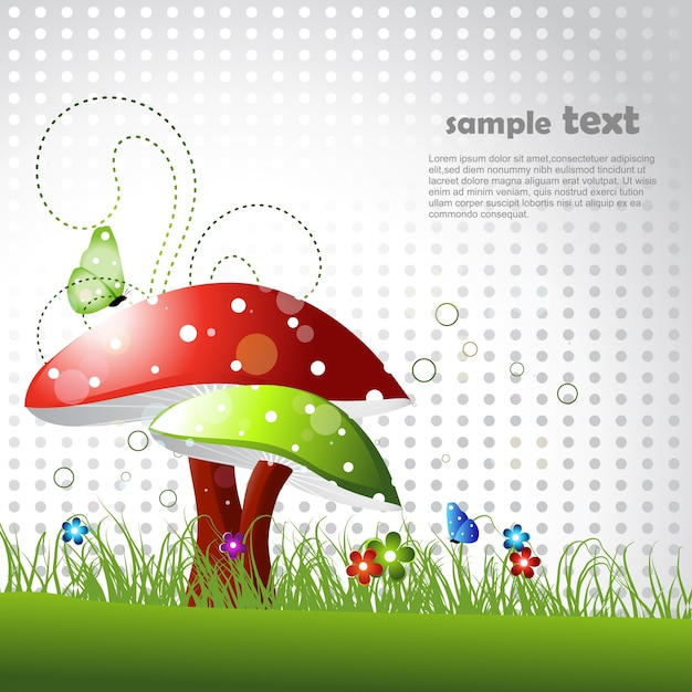 Beautiful mushroom design with space for text Free Vector