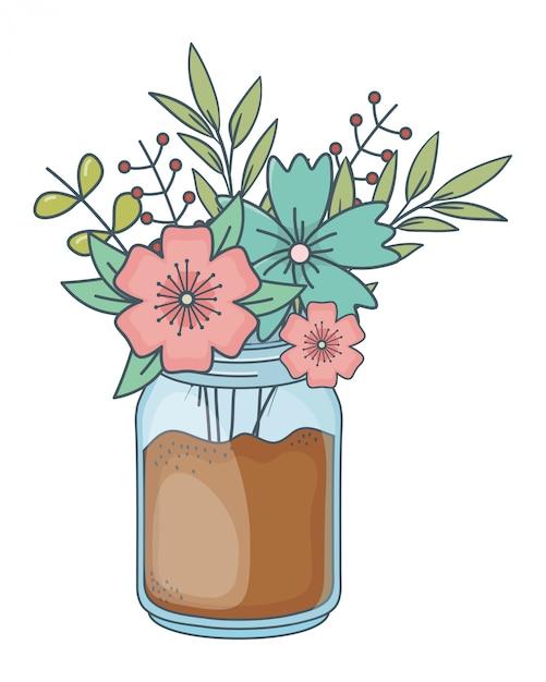 Beautiful nature flowers cartoon Premium Vector
