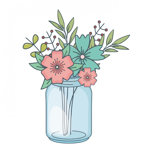 Beautiful nature flowers cartoon Premium Vector