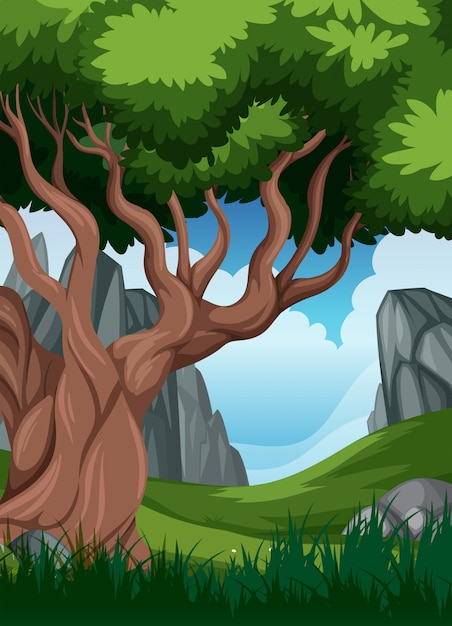 A beautiful nature landscape Free Vector