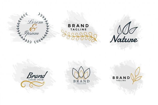 Beautiful nature logos or wedding monograms collection Free Vector
