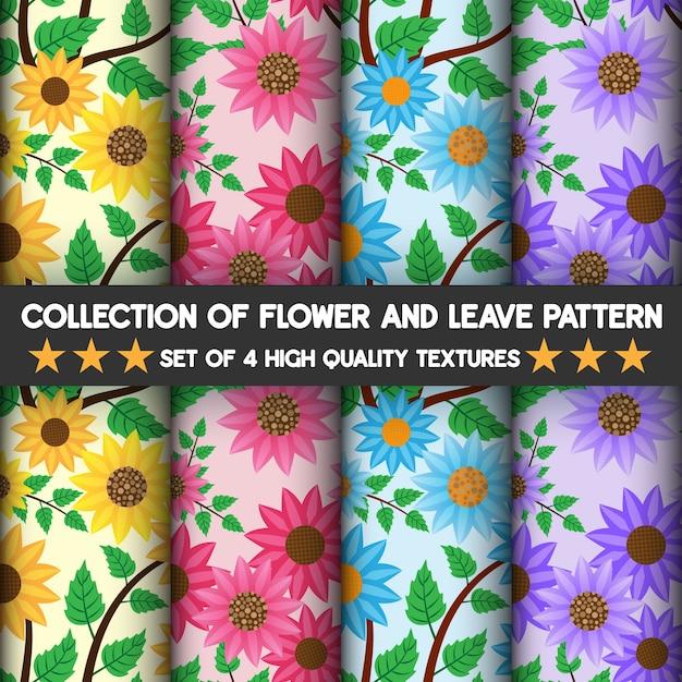 Красивая природа цветка и оставляет высококачественные текстуры, узор и бесшовные. Premium векторы