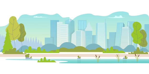Beautiful nature scene with town and hill Premium Vector