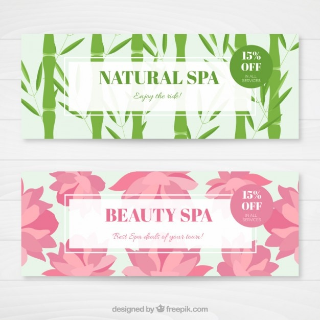 Beautiful nature spa banners Free Vector
