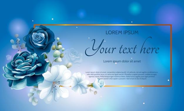 Beautiful navy blue floral paper template Premium Vector
