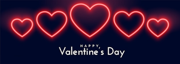 Beautiful neon hearts banner for valentines day Free Vector