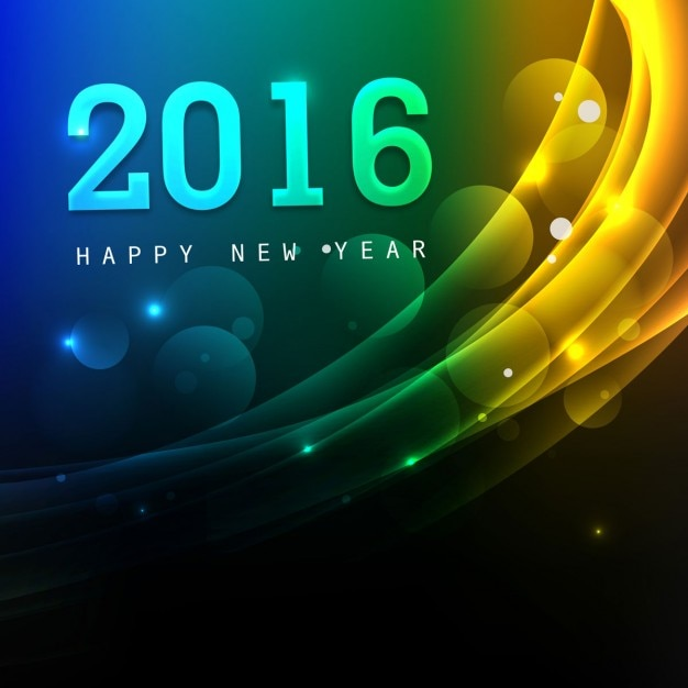 Beautiful New Year 2016 Greeting Card Vector Free Download