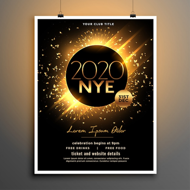 Beautiful new year eve party flyer template design Free Vector